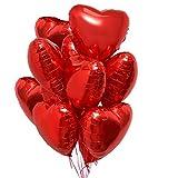 Jonami 25 Herz Folienballons Rot Helium Luftballon, Romantisch Deko, Dekoration...