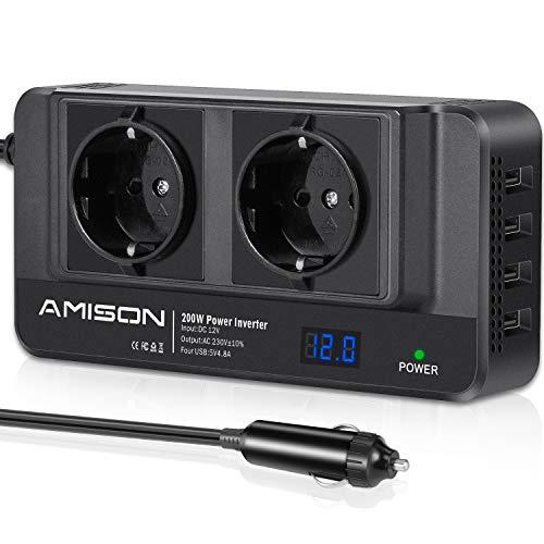 200W KFZ Wechselrichter, Amison Spannungswandler 12V auf 230V mit Smart...