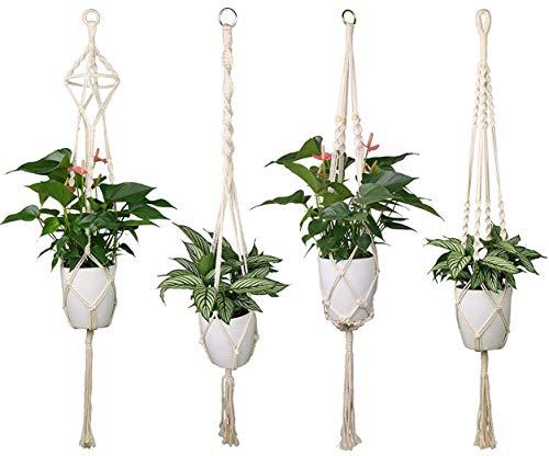 Luxbon 4er Set Makramee Blumenampel Baumwollseil Hängeampel Blumentopf Pflanzen Halter Aufhänger für Innen Außen Decken Balkone Wanddekoration -...