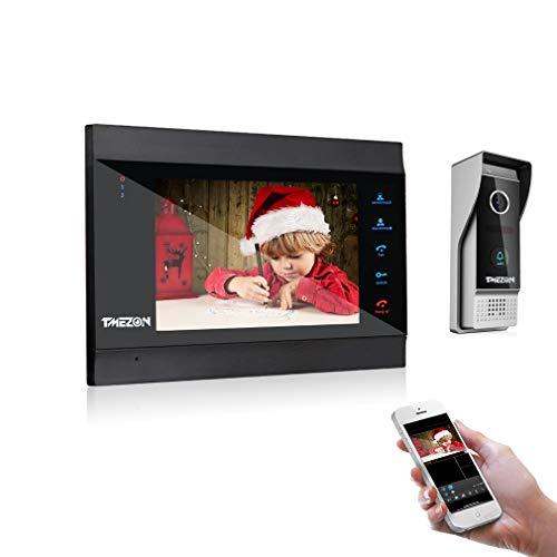 TMEZON WLAN Video Türsprechanlage Türklingel Gegensprechanlage System,7 Zoll WLAN Monitor mit Verdrahteter Kamera im Freien, Fernbedienung...