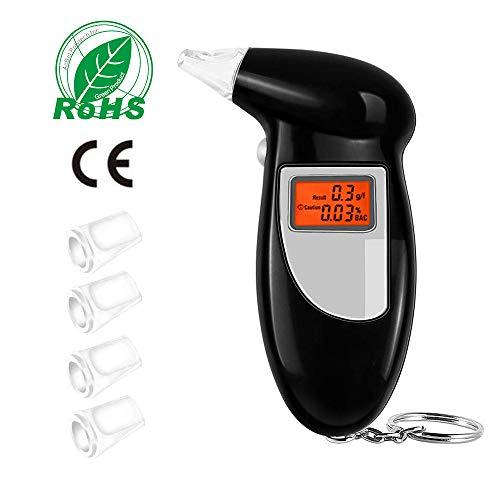 Profesional Alcohol/ímetro Digital con 10 Boquillas Zorara Alcoholimetros Probador de Alcohol Port/átil con Pantalla LCD Sensor de Semiconductores