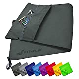 Fit-Flip fitness towel set with zipper compartment + magnetic clip + extra sports towel | patent-pending multifunctional towel, microfiber ...