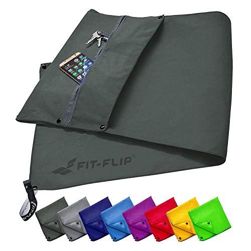 Fit-Flip Fitness Handtuch Set mit Reißverschluss Fach + Magnetclip + extra Sporthandtuch | zum Patent angemeldetes Multifunktionshandtuch, Mikrofaser...