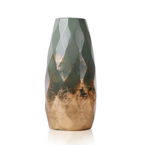 TERESA'S COLLECTIONS Grüne Golde Keramik Vase Kleine Blumenvase Moderne Tischvase Blumen Pflanzen Tischdeko Keramikvase Deko Zum Muttertag Höhe 23cm...