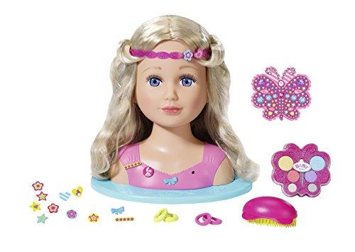 Zapf Creation 824788 BABY born Sister Styling Head 2-in-1 Frisierpuppe und Schminkkopf mit Zubehör