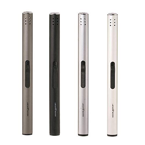 DRULINE 4 x Stabfeuerzeug Gasfeuerzeug Anthrazit, Schwarz, Weiß, Silber aus Metall 17 cm lang 0,4 kg