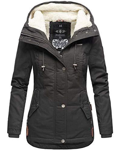 Marikoo warme Damen Winter Jacke Teddyfell gefütterte Winterjacke B802...