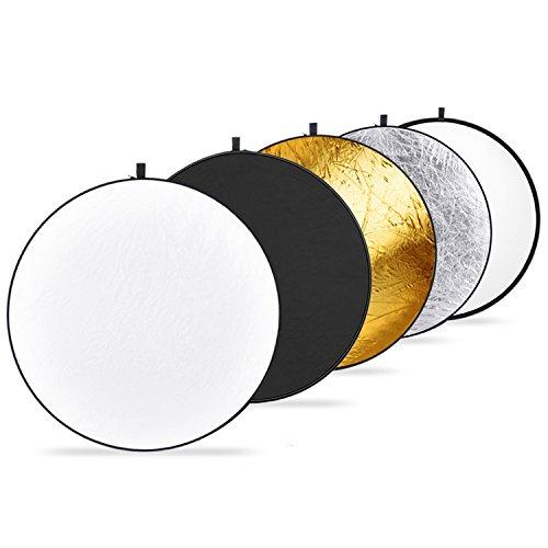 Neewer® 5 in 1 Faltreflektoren Set Reflektor (110CM Ø) Gold, Silber, Weiß,...