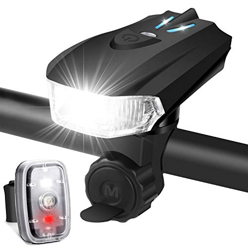 LED Fahrradlicht Set, StVZO Zugelassen USB Wiederaufladbare Fahrradlichter Fahrradbeleuchtung Set, fünf Beleuchtungsmodi Fahrradlampe Set, IPX6...