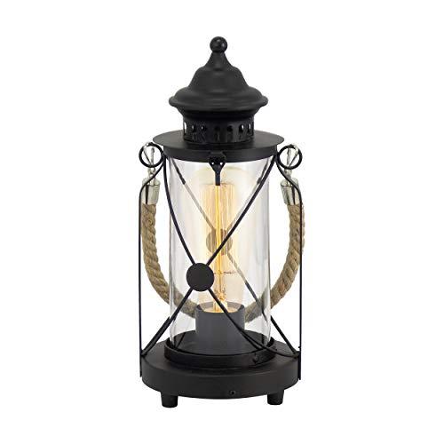 EGLO Tischlampe Bradford, 1 flammige Vintage Tischleuchte, Laterne, Nachttischlampe aus Stahl, Farbe: schwarz, Glas: klar, Fassung: E27, inkl....