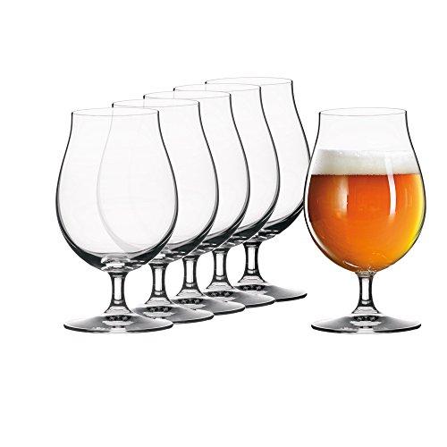 Stiel-Gl/äser klar Party-Kelche Glas-Geschirr 6er-Set Bierglas Executive Cocktail-Becher edle Bier-Tulpe Bormioli Rocco 0.3L geeicht