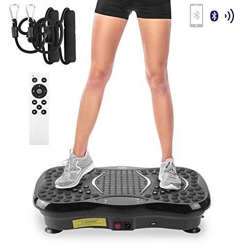 GM-Luckey Vibrationsplatte, Fitnessgerät Fitness Vibrationsmaschine,VP 200 Profile Vibrationsgerät Fitness mit LCD Display, Bluetooth...