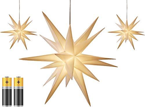 3er Pack 3D Leuchtstern - Weihnachtsstern/warm-weiß beleuchtet/für Innen und...