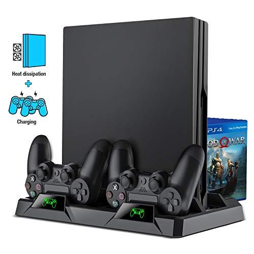 PS4 Vertical Stand, BEBONCOOL All-in-One PS4 Vertikaler Standfuß Ständer Halter Lüfter für Playstation 4 Pro/Slim, PS4 Controller Ladesation...
