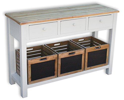 KMH®, Anrichte Alsace mit 3 Holzkörben und 3 Schubladen im Vintage-Look (#204812)