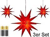3er Pack 3D Leuchtstern - Weihnachtsstern/warm-weiß...