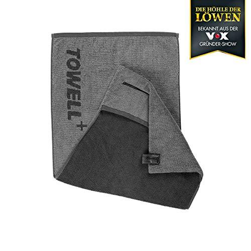 Towell Plus 00764 Sporthandtuch | Bekannt aus dem TV | Mit integrierter Tasche | Magnetclip zum Aufhängen an Sportgeräten | 100% Baumwolle |...