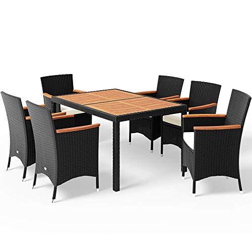 Casaria Poly Rattan Sitzgruppe Schwarz 7cm Dicke...