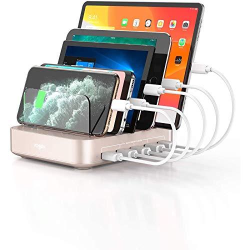 VOGEK USB Ladestation für Mehrere Geräte 5 Ports Handy Ladestation mit 8...