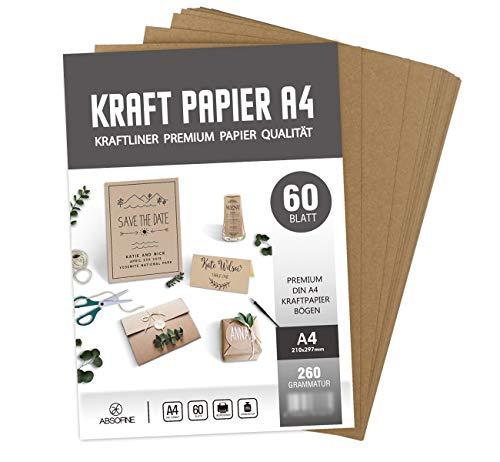 Kraftkarton 170 g Qualit/ät DIN A4 Kraftpapier Naturkarton hochwertige Qualit/ät 100 Bl/ätter Brown Natural Craft Card