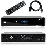 AX HD60 4K UHD 2160p E2 Linux 1xDVB-S2X Sat mottaker inkl. HDMI-kabel [forhåndsprogrammert for Astra & Hotbird]
