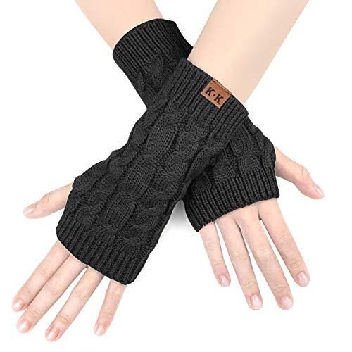 NOVAWO Frauen Winter lange Halbhandschuhe gestrickt Armstulpen