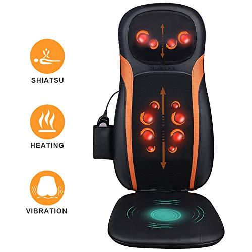 Massageauflage Shiatsu Massagesitzauflage Rückenmassagegerät mit Wärmefunktion - Elektrisch Massagematte mit Kneten Rollmassage, 3 Massagezonen,...