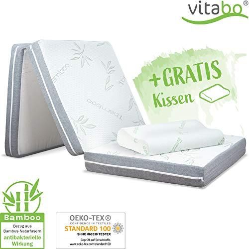 Vitabo Klappmatratze Gästebett mit weichem Bambusbezug + Kopfkissen I 3-teilige Faltmatratze Gästematratze faltbar klappbar | auch als Campingbett...