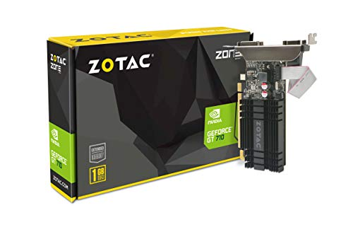 Zotac GeForce GT 710 Zone Grafikkarte (NVIDIA GT 710, 1GB DDR3, 64bit, Base-Takt 954 MHz, 1,6 GHz, DVI-D, HDMI, VGA, passiv gekhlt)