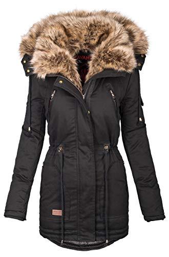 Navahoo warme Damen Winter Jacke Parka lang Mantel Winterjacke Fell Kragen B380...