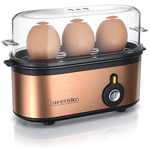 Arendo - Edelstahl Eierkocher Threecook - Egg Cooker - EIN AUS-Schalter - Wählbarer Härtegrad - 210 W - 1-3 Eier - Antirutschgummifüße für...