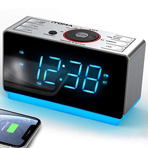 iTOMA Radiowecker mit kabellosen Bluetooth, Digital-FM-Radio, Dual-Alarm mit Schlummerfunktion,Dimmer Steuerung, Handy-USB-Ladefunktion, Nachtlicht,...