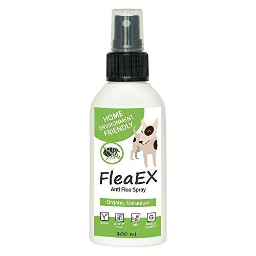 Flohspray für Hunde FleaEX | 100ml BIO Flohmittel Hunde zum Sprühen | Natürliches Anti Flohspray mit Zitronenöl | Flohhalsband für Hunde...