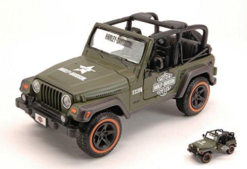 Maisto MI32190G Jeep Wrangler Rubicon Harley Davidson Green 1:27 DIE CAST Model kompatibel mit