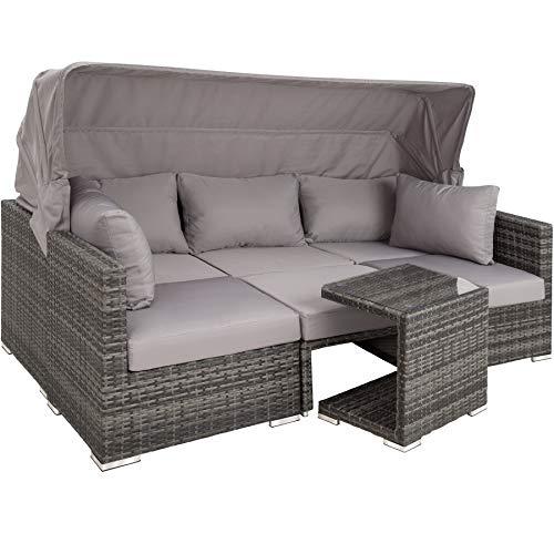 TecTake 800771 Aluminium Poly Rattan Lounge Set,...