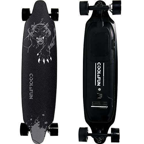 RCB Longboard Elektromotor Skateboard E Skateboard, mit Fernbedienung, Skateboard-Design 4-Räder, langlebige Batterie, Starke Installation, schwarz