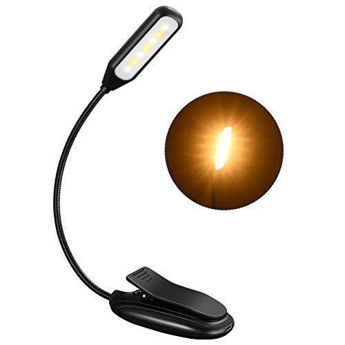 Leselampe Buch Klemme, TOPELEK 7 LED Buchlampe Bett, 3 Farbtemperatur, 3 Helligkeiten, 60H Dauerzeit, Mikro USB, LED Klemmleuchte Notenständer Licht...