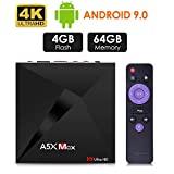 Android 9.0 TV -laatikko, Android 4GB 32GB ROM, ATETION MAX RK3328 Quad Core 64bit älykäs TV-ruutu, WiFi Dual 2.4G, BT 4.1, Box TV UHD 4K TV, USB 3.0