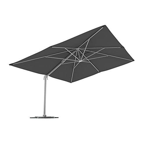 paramondo parapenda Solskjerm 4 x 3m (rektangulær / grå) / ramme inkl. stativkors (antrasitt)