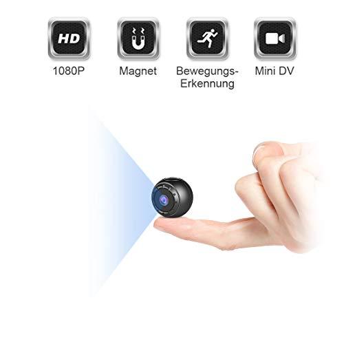 Mini Kamera Bewegungserkennung, MHDYT Full HD 1080P Mini Cam, Mikro Akku Überwachungskamera mit Infrarot Nachtsicht und Magnet, Kabellose Kleine...