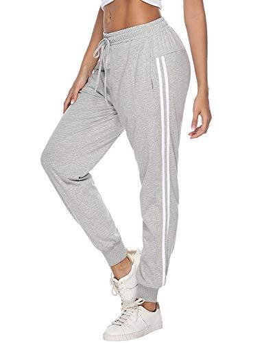Hawiton Damen Sporthose Jogginghose Lang Streifen Baumwolle Freizeithose Hose für Fitness Training Grau M
