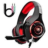 Beexcellent GM-1RED Gaming Headphone for PS4 PC Xbox One, LED Light, Red