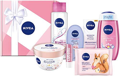 NIVEA Geschenkbox Rosa, Pflegeset mit Shampoo, Reinigungstüchern, Tagespflege,...