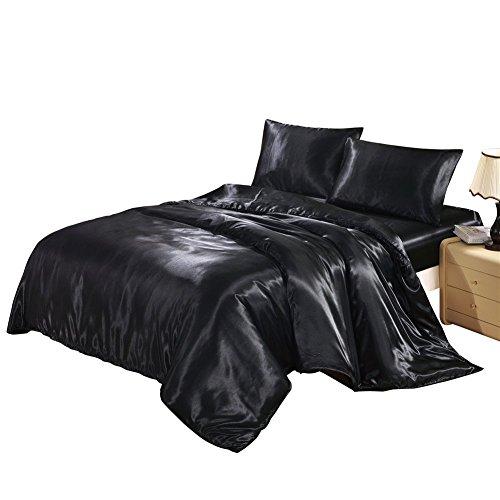 HYSENM Set Bettwäsche Kissenhülle x 2 Satin Einfarbig Glatt Bequem Verschiedene Größen, Schwarz Bettwäsche(135 x 200cm)+1 x Kissenhülle(50 x...