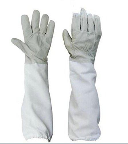 Yosoo Bienenzuchthandschuhe, weich und langlebig, aus Ziegenleder, Schutzhandschuhe mit dicken Ärmeln extra lang Zubehör für Imker