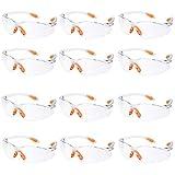 12er Pack Schutzbrille Augenschutz Schutzbrillen Arbeit mit Klaren Gläsern Gumminase Schutzbrille Baustelle Arbeitsschutzbrillen Kratzfest für...