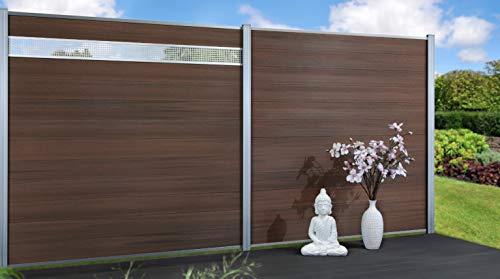 Exklusiv Sichtschutz System WPC Zaun Holzdekor Bangkirai braun mit zusätzlicher Kunststoffbeschichtung, 12er-Bohlenset mit 2 Abschlussleisten Silber...