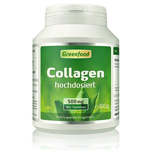 Collagen, 500 mg, hochdosiert, 180 Tabletten – natürliches Collagenhydrolysat. OHNE künstliche Zusätze, ohne Gentechnik.