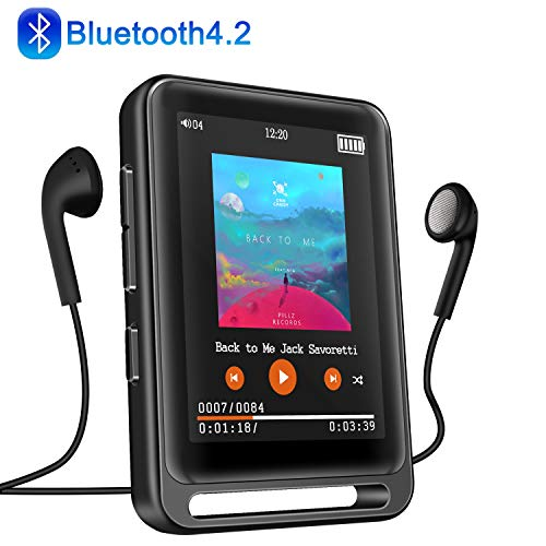 MP3 Player, 16GB Bluetooth MP3 Player mit 2.4' LCD Touchscreen, Sports MP3 Player mit Kopfhörer/FM Radio/Voice Recorder, Unterstützt bis 128 GB SD...