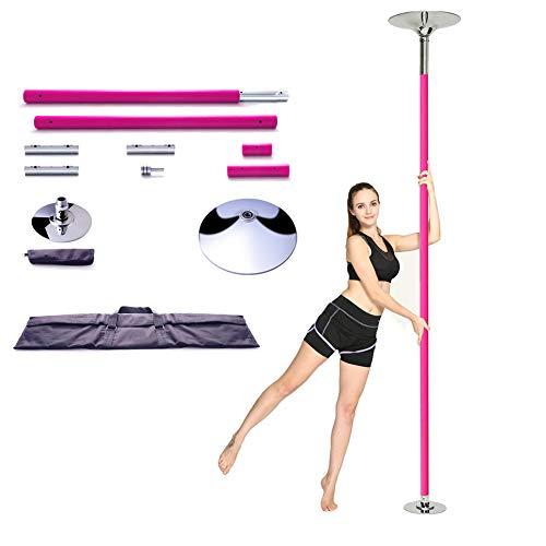 EASOUG Profi Tanzstange,44mm Pole Dance Stange Edelstahl, Pink Poledance,höhenverstellbar 2.3-2.75m,inkl DVD